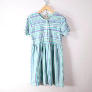 vintage 90s soft knit stripe babydoll mini dress